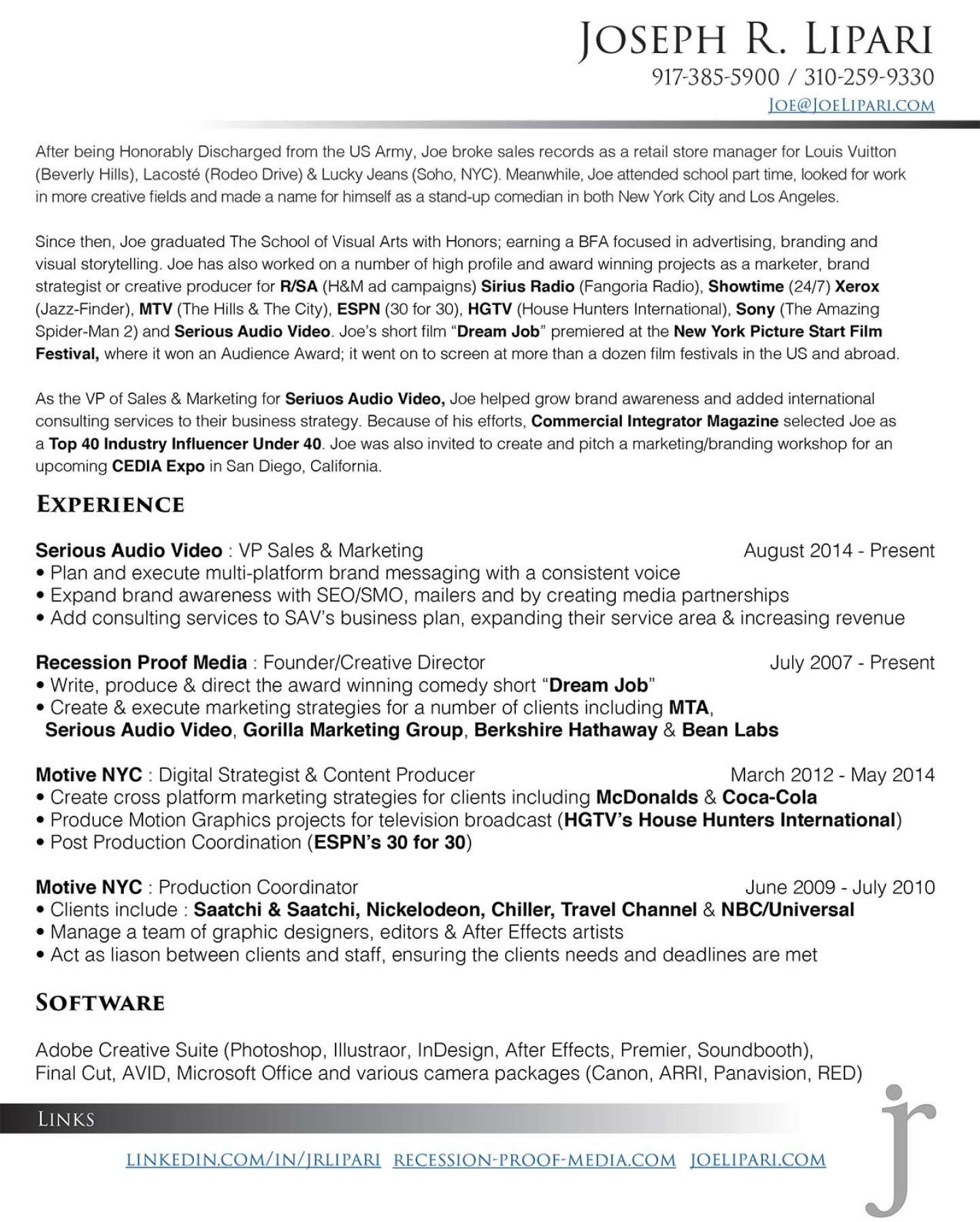 Resume Joseph Lipari My References Furnished Upon Request